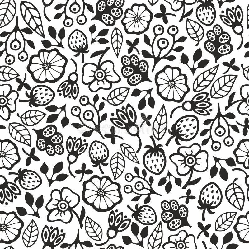Modello senza cuciture in bianco e nero con i fiori illustrazione di stock