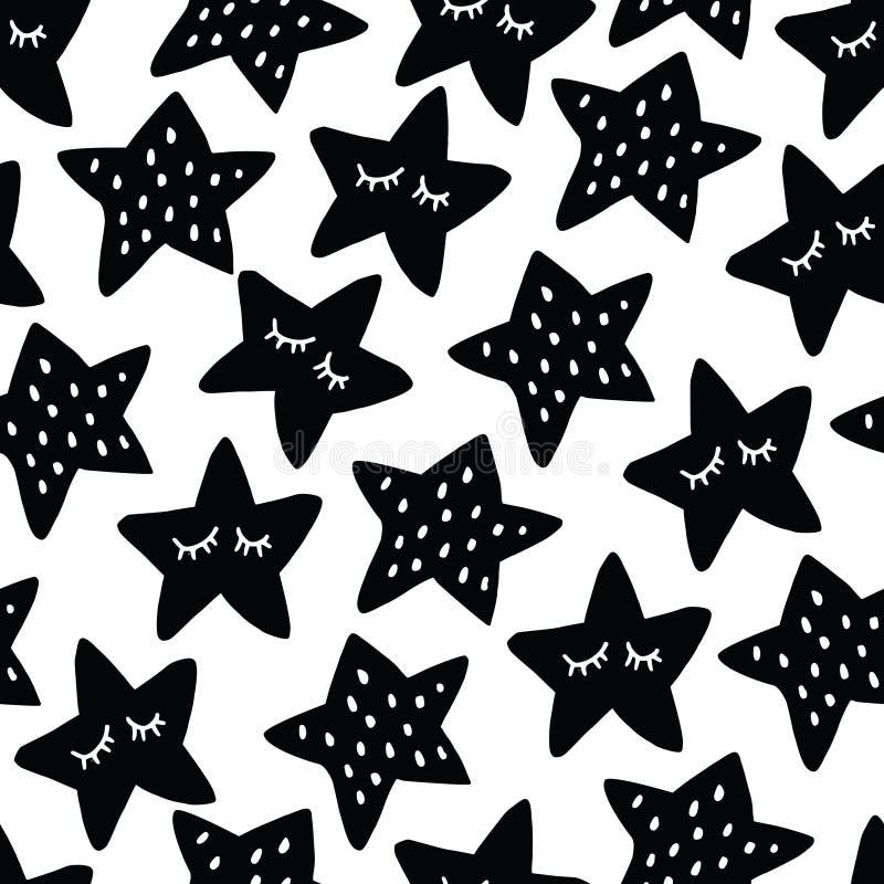 Modello senza cuciture in bianco e nero con le stelle di sonno Bambini scandinavi, progettazione della scuola materna Illustrazio illustrazione di stock