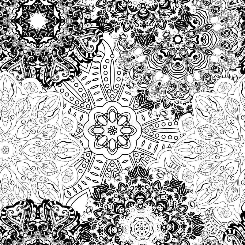 Modello senza cuciture in bianco e nero della mandala Fondo senza cuciture monocromatico con i fiori illustrazione disegnata a ma illustrazione di stock