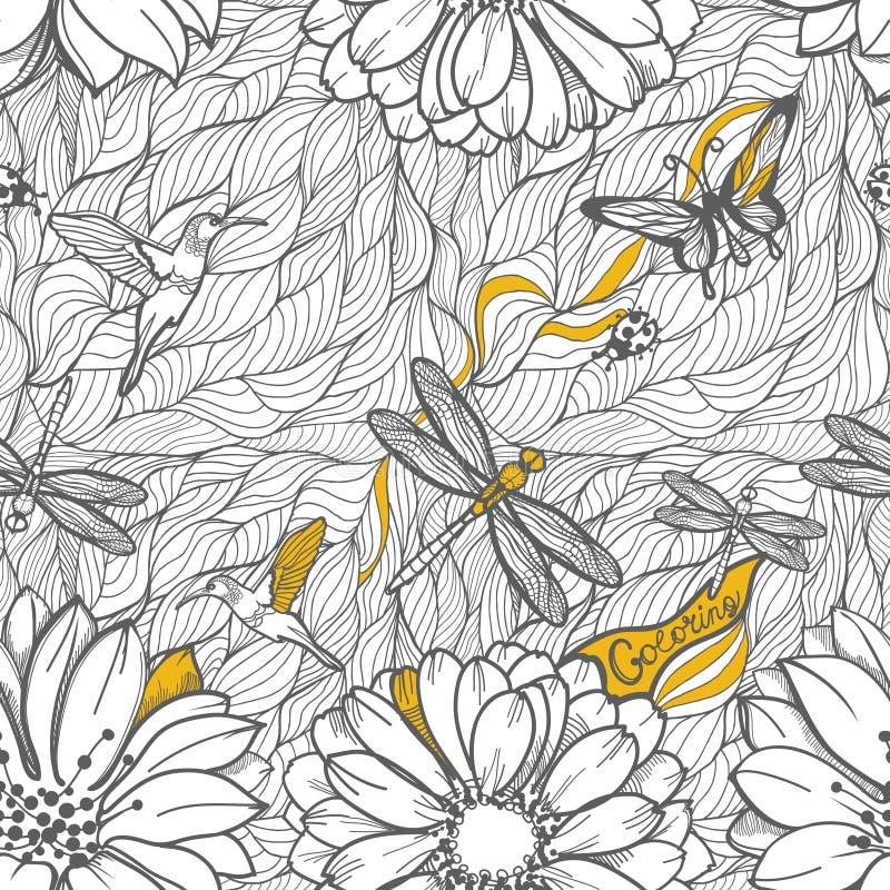 Modello senza cuciture in bianco e nero di coloritura illustrazione di stock