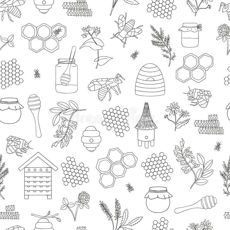 Modello senza cuciture in bianco e nero di vettore di miele, ape, bombo, alveare, vespa, arnia, fiori del prato illustrazione vettoriale