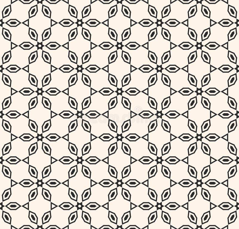 Modello senza cuciture in bianco e nero geometrico di vettore Forme floreali lineari, intaglio del legno illustrazione di stock