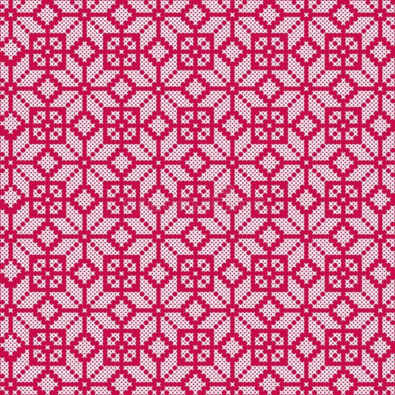 Modello senza cuciture bianco rosso nordico illustrazione di stock