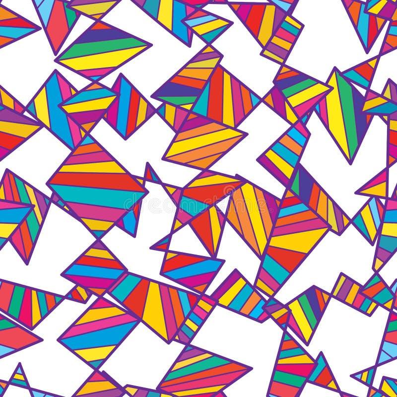 Modello senza cuciture bianco variopinto orizzontale verticale tribale illustrazione vettoriale