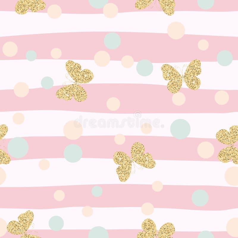 Modello senza cuciture brillante dei coriandoli delle farfalle dell'oro su fondo a strisce rosa illustrazione di stock