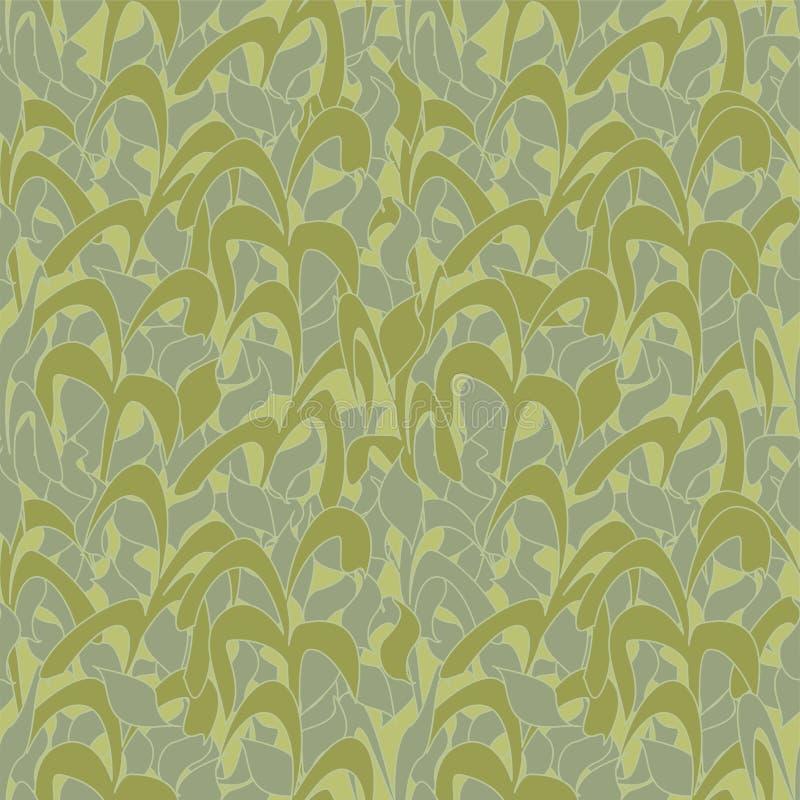 Modello senza cuciture, cammuffamento verde oliva dalle foglie a lamella per i tessuti, carte da parati, tovaglie, stampe e proge royalty illustrazione gratis