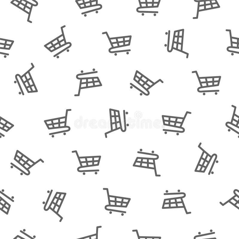 Modello senza cuciture - carrello di acquisto (carretto della drogheria) illustrazione vettoriale