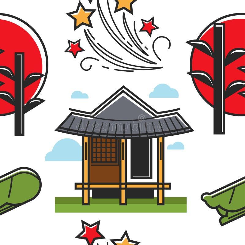 Modello senza cuciture casa di simboli e della pianta e del fuoco d'artificio coreani di tramonto royalty illustrazione gratis