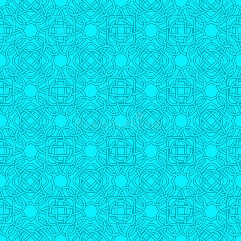 Modello senza cuciture celtico nello stile medievale in turchese ed in blu illustrazione di stock