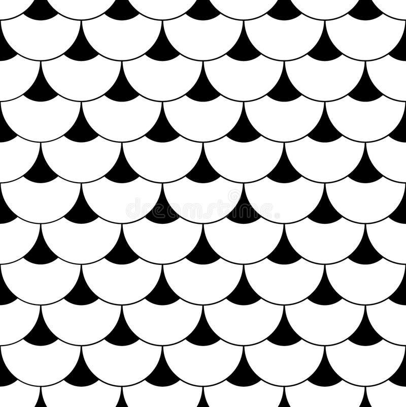 Modello senza cuciture cinese delle squame geometriche Fondo ondulato delle mattonelle di tetto per progettazione Struttura alla  illustrazione di stock