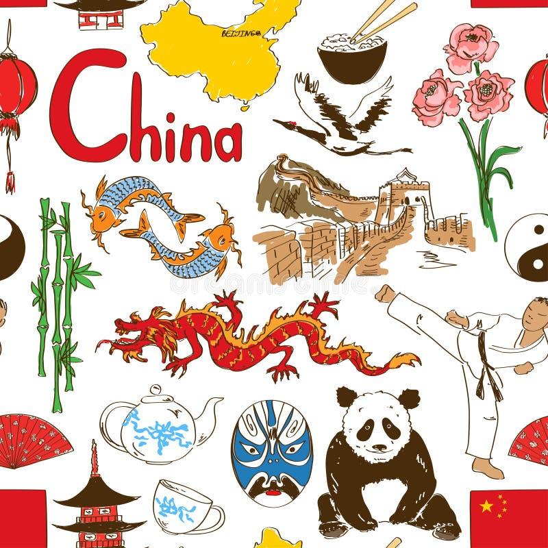 Modello senza cuciture cinese di schizzo illustrazione vettoriale