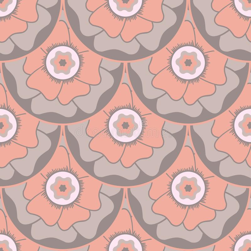Modello senza cuciture circolare floreale stilizzato nello stile orientale illustrazione vettoriale