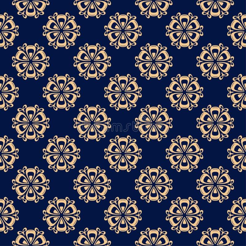 Modello senza cuciture colorato floreale Fondo blu dorato con gli elementi del fower per le carte da parati illustrazione vettoriale