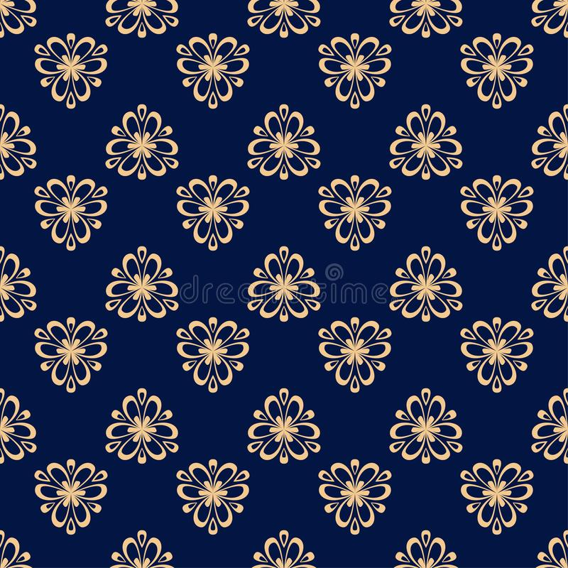 Modello senza cuciture colorato floreale Fondo blu dorato con gli elementi del fower per le carte da parati illustrazione di stock