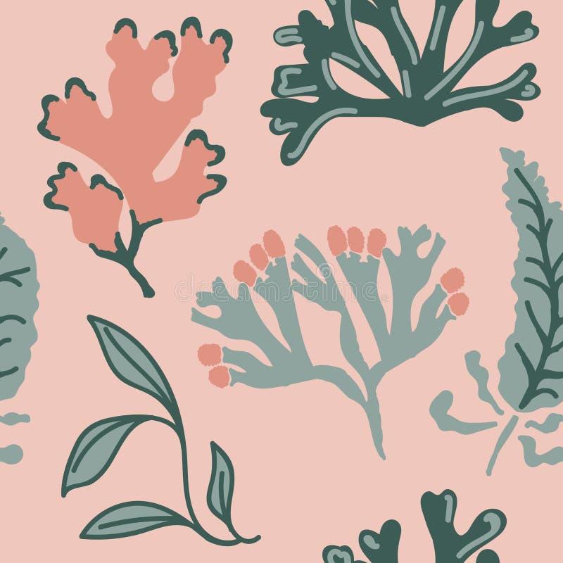 Modello senza cuciture con alga astratta Fondo disegnato a mano di ripetizione Illustrazione piana di stile royalty illustrazione gratis