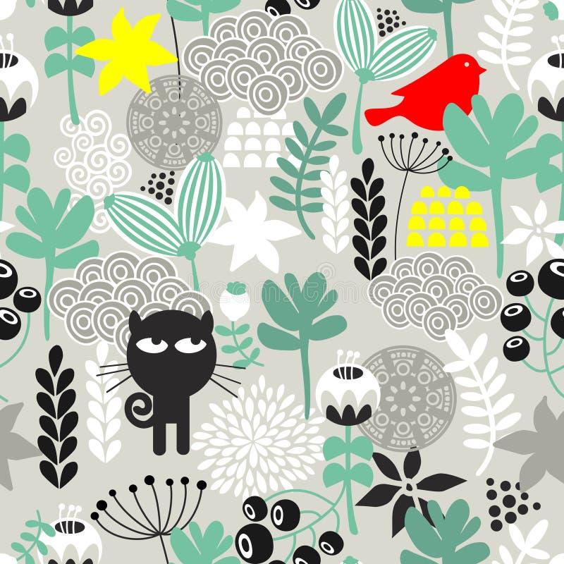 Modello senza cuciture con caccia del gatto nero. royalty illustrazione gratis