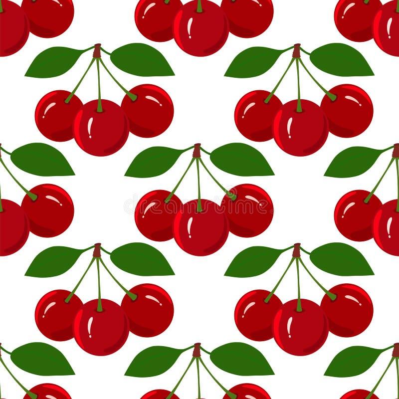 Modello senza cuciture con Cherry Fruit maturo succoso immagini stock