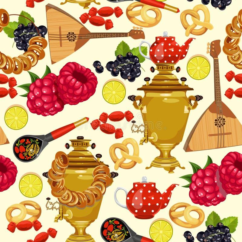 Modello senza cuciture con cucina russa Fondo russo di vettore dell'alimento royalty illustrazione gratis