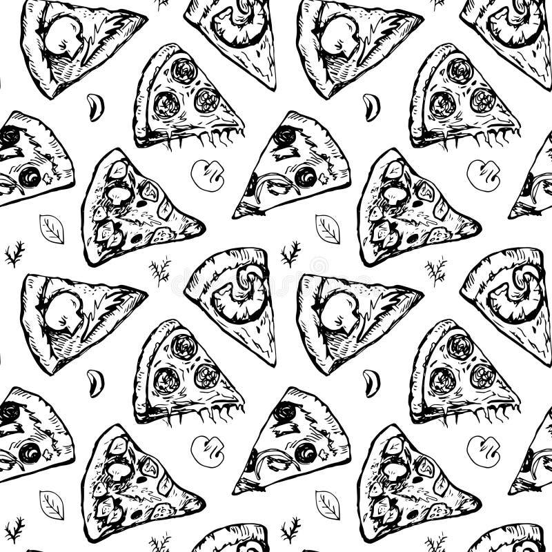 Modello senza cuciture con differenti fette della pizza illustrazione di stock