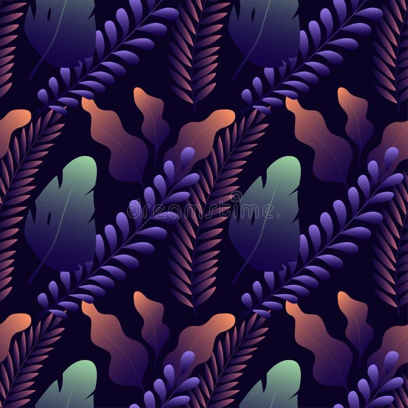 Modello senza cuciture con differenti foglie esotiche su fondo blu scuro royalty illustrazione gratis