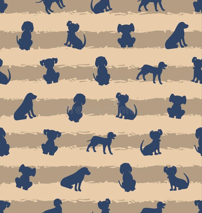 Modello senza cuciture con differenti razze dei cani, struttura con i cuccioli delle siluette illustrazione di stock