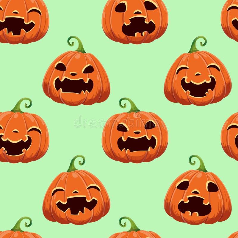 Modello senza cuciture con differenti zucche di Halloween Illustrazione di vettore Per scrapbooking, regali, tessuti, tessuto, fo illustrazione di stock