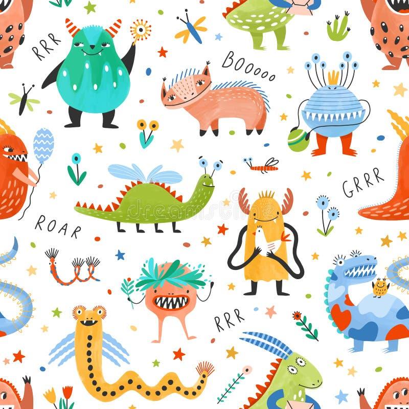 Modello senza cuciture con divertire i mostri fantastici, creature di favola, bestie fantastiche su fondo bianco piano illustrazione di stock