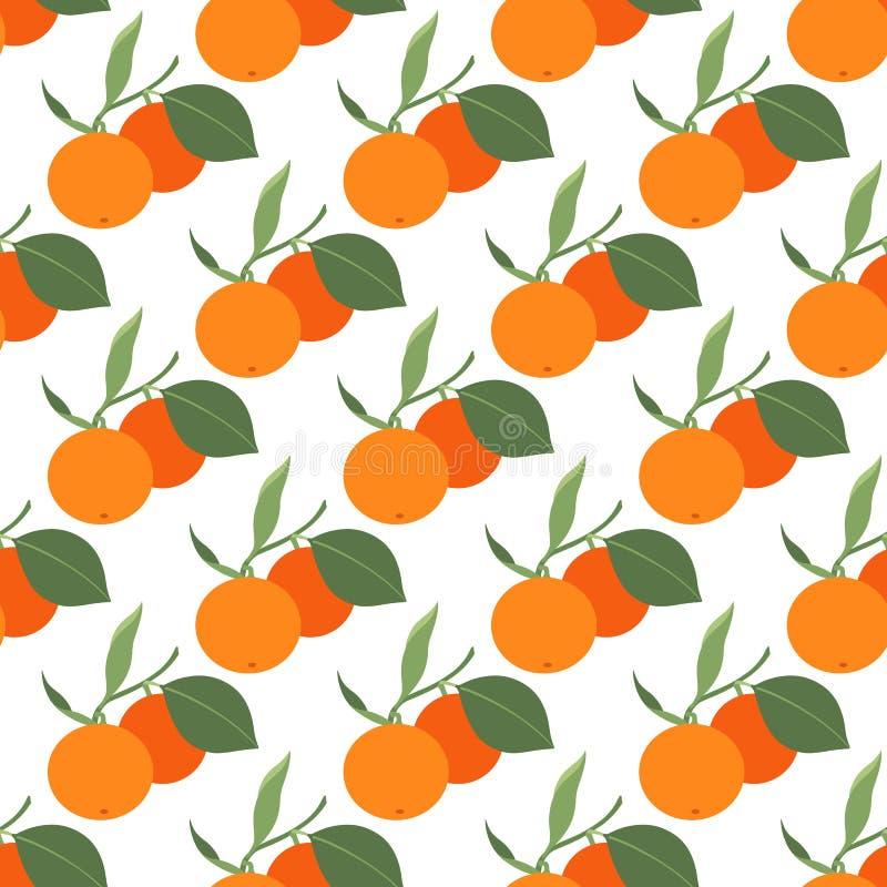 Modello senza cuciture con due mandarini e foglie su fondo bianco illustrazione di stock