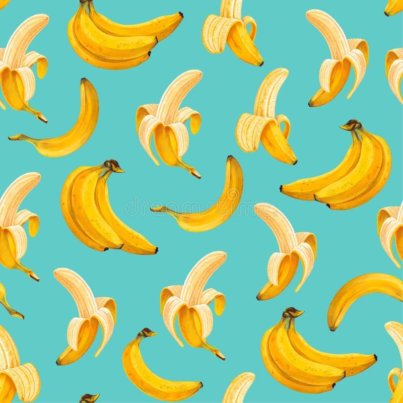 Modello senza cuciture con fondo luminoso e le banane disegnate a mano con gli alti dettagli in uno stile realistico royalty illustrazione gratis