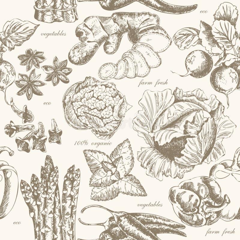 Modello senza cuciture con frutta e le spezie nello stile d'annata illustrazione di stock