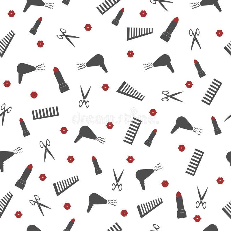 Modello senza cuciture con gli accessori per un negozio di barbiere del salone di bellezza illustrazione di stock