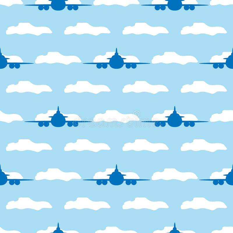 Modello senza cuciture con gli aerei e le nuvole Illustrazione di vettore illustrazione di stock