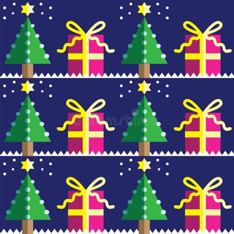 Modello senza cuciture con gli alberi di Natale, con la stella di d e blu-chiaro in due tonalità su fondo blu scuro con l'element royalty illustrazione gratis