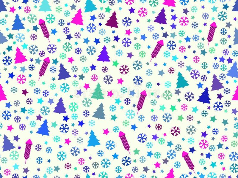 Modello senza cuciture con gli alberi di Natale ed i fiocchi di neve Reticolo di natale royalty illustrazione gratis
