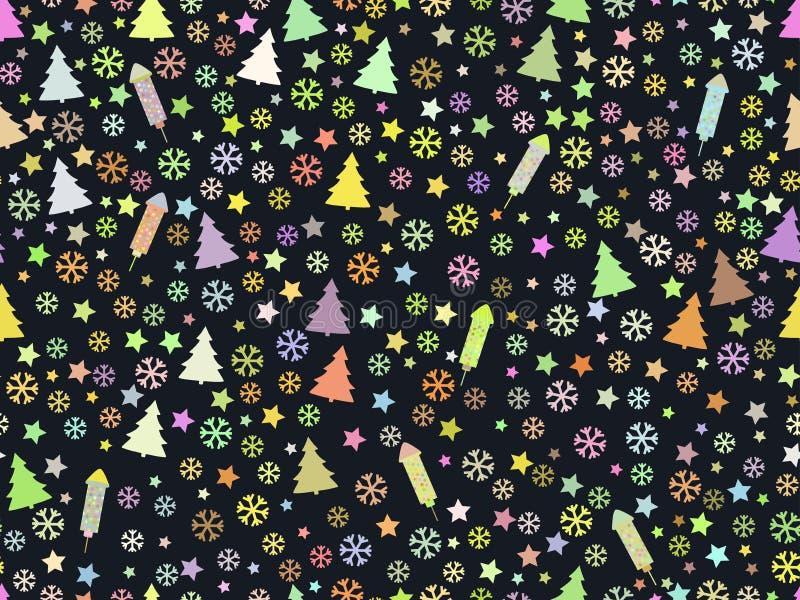Modello senza cuciture con gli alberi di Natale ed i fiocchi di neve Reticolo di natale illustrazione vettoriale