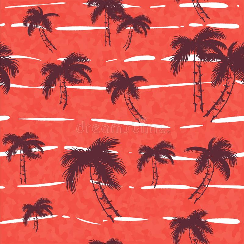 Modello senza cuciture con gli alberi tropicali Palma scura e luminosa sull'illustrazione rosa-rosso Fogliame della giungla sui p illustrazione vettoriale