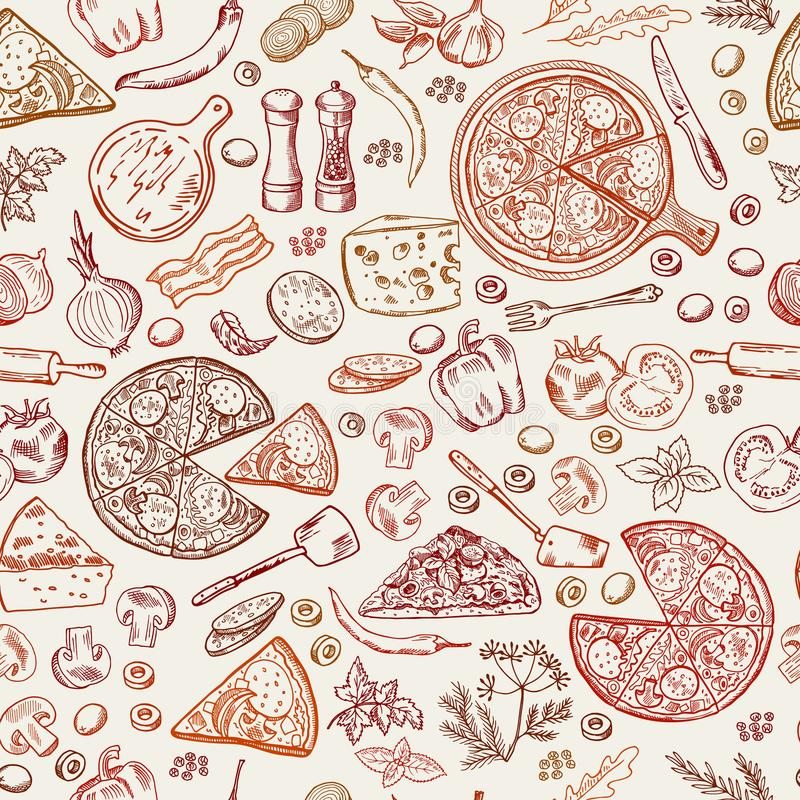 Modello senza cuciture con gli alimenti italiani classici Illustrazioni disegnate a mano di pizza royalty illustrazione gratis
