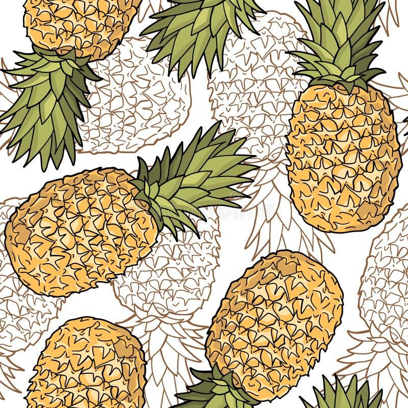 Modello senza cuciture con gli ananas Disegno stilizzato del grafico royalty illustrazione gratis