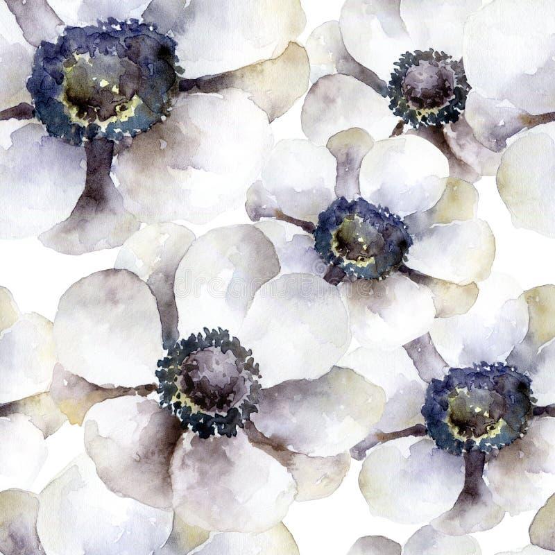 Modello senza cuciture con gli anemoni bianchi illustrazione vettoriale