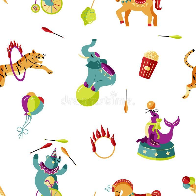 Modello senza cuciture con gli animali da circo e gli oggetti celebratori illustrazione di stock