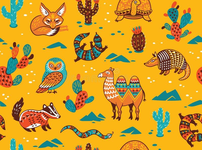 Modello senza cuciture con gli animali del deserto illustrazione vettoriale