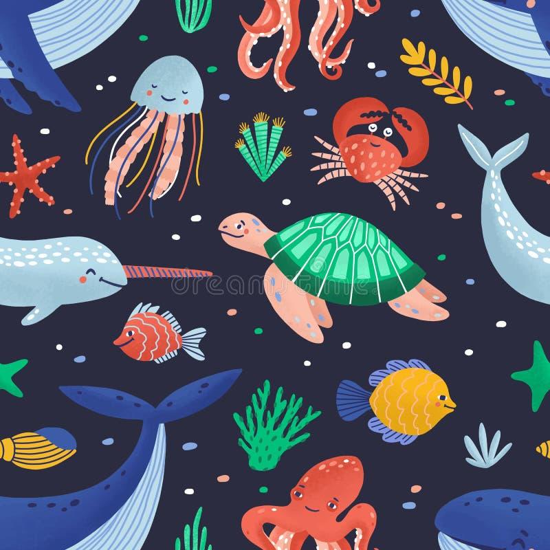 Modello senza cuciture con gli animali marini divertenti svegli o le creature subacquee felici che vivono nel mare Fauna dell'oce illustrazione di stock