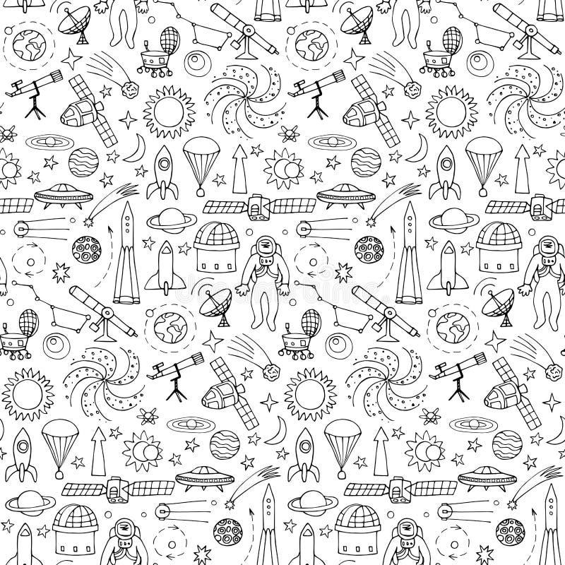 Modello senza cuciture con gli elementi dello spazio di scarabocchio illustrazione di stock