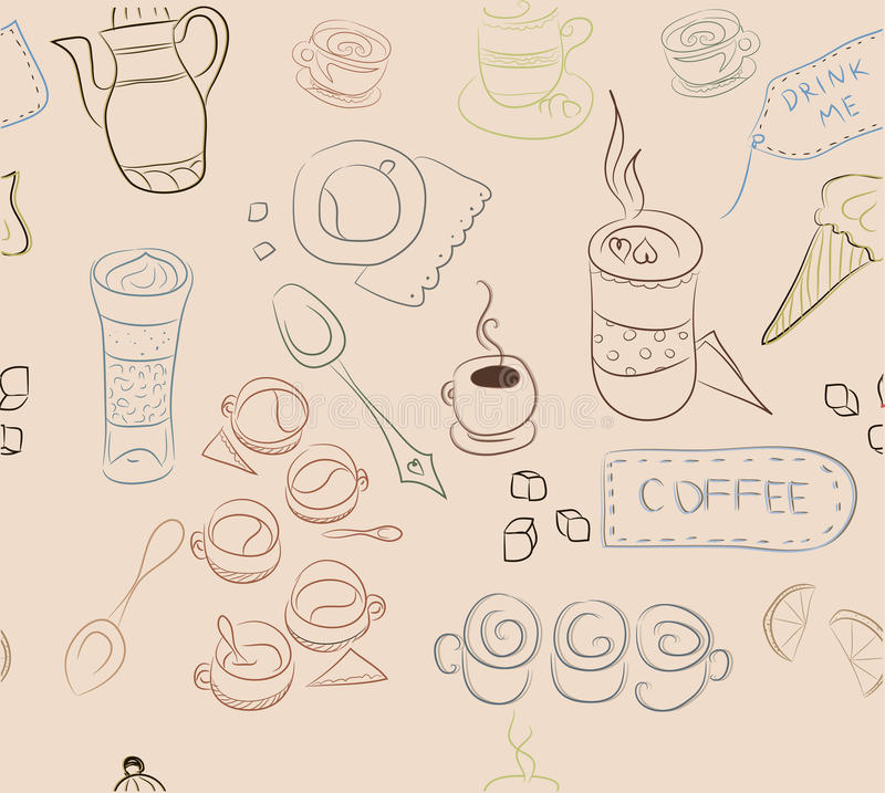Modello senza cuciture con gli elementi di caffè, piatti del caffè, dolci, fotografie stock