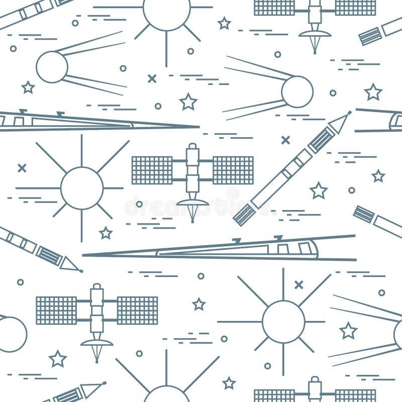 Modello senza cuciture con gli elementi di esplorazione spaziale di varietà royalty illustrazione gratis