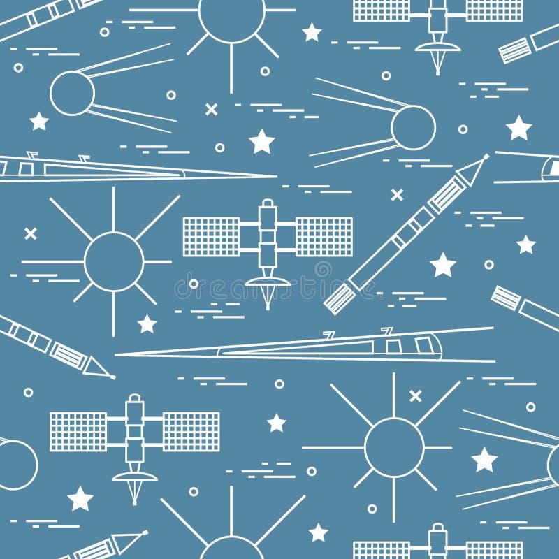 Modello senza cuciture con gli elementi di esplorazione spaziale di varietà illustrazione di stock