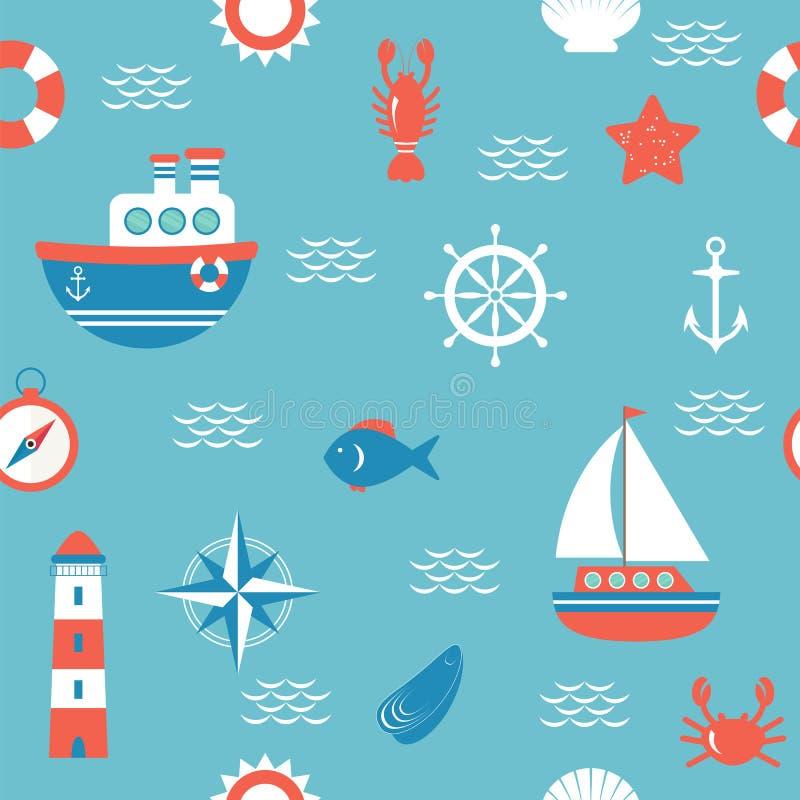Modello senza cuciture con gli elementi nautici di progettazione Concetto marino b royalty illustrazione gratis