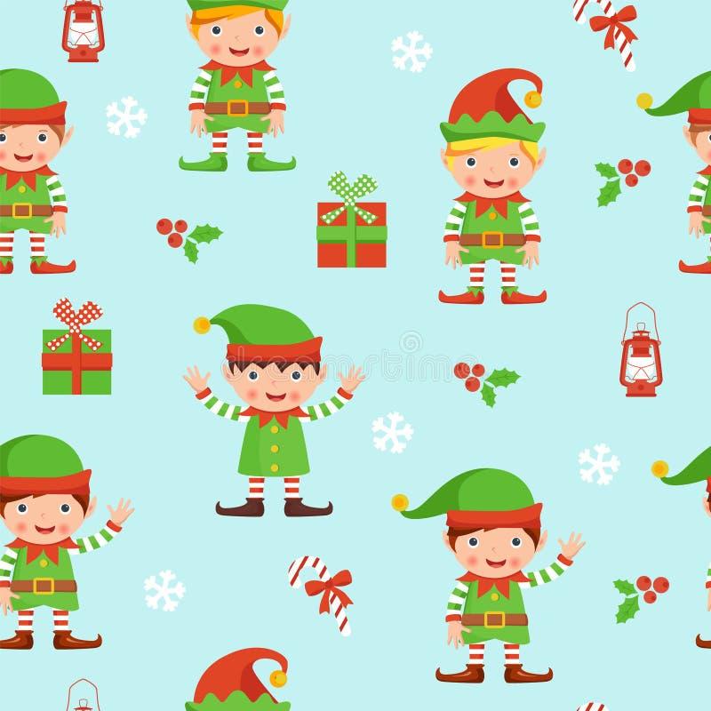 Modello senza cuciture con gli elfi, le bacche e le scatole illustrazione di stock