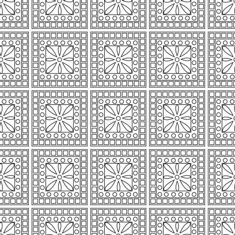 Modello senza cuciture con gli insetti, fondo in bianco e nero geometrico simmetrico di vettore con le farfalle Orna di ripetizio illustrazione di stock