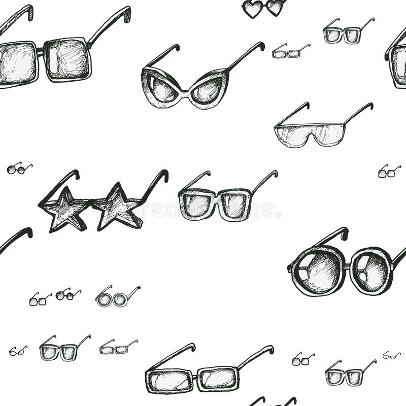 Modello senza cuciture con gli occhiali da sole illustrazione vettoriale